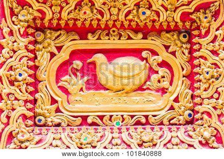 Bird Wall Sculpture In Thai Temple