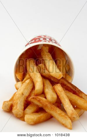Spilled Fries Coming Out Of A Chip Bucket