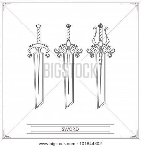 Bevelled Fantasy Sword Lineart