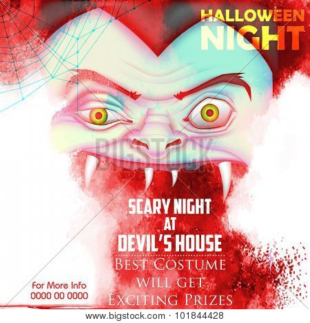 illustration of screaming monster for Halloween party poster