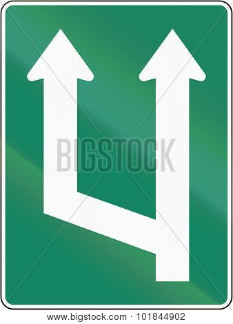 Two Lane Section Begins In Canada