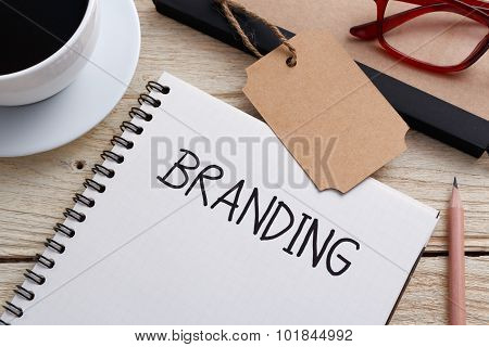 Branding Concept With Tag On Work Desk