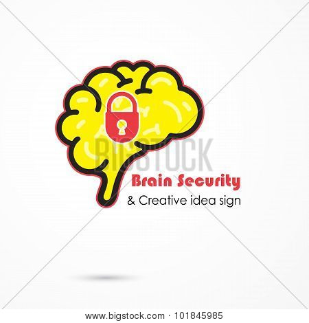 Creative brain security abstract vector logo design template.