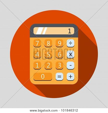 Calculator Flat Design Icon With Long Shadow