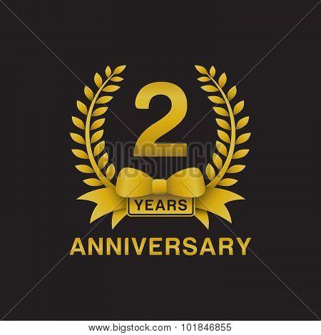 2nd anniversary golden wreath logo black background