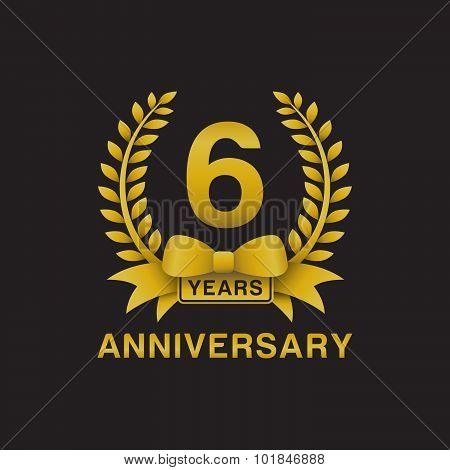 6th anniversary golden wreath logo black background
