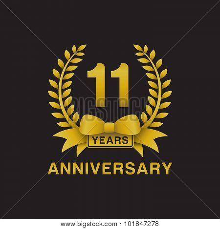11th anniversary golden wreath logo black background