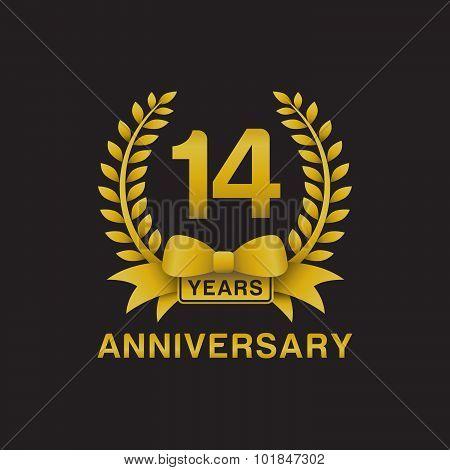 14th anniversary golden wreath logo black background