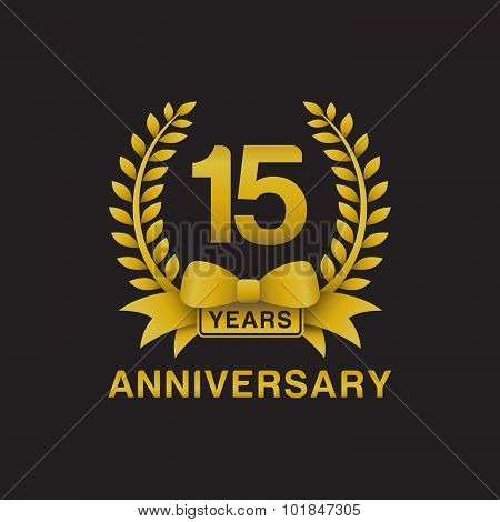 15th anniversary golden wreath logo black background