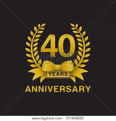 40th anniversary golden wreath logo black background