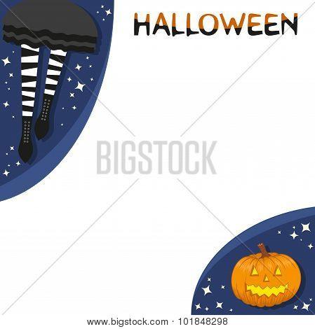 Striped socks and halloween pumpkin