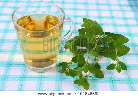 Fresh Lemon Balm And Glass Of Herbal Drink On Tablecloth