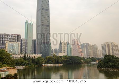 SHENZHEN, CHINA - OCTOBER 28, 2011: Skyscrapers in ShenZhen downtown, Luohu district. Shenzhen is a major city in Guangdong Province, China.