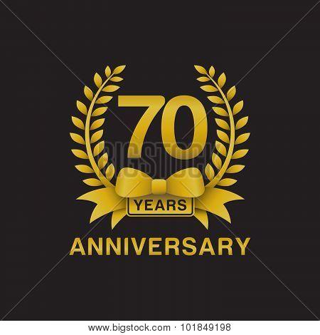70th anniversary golden wreath logo black background