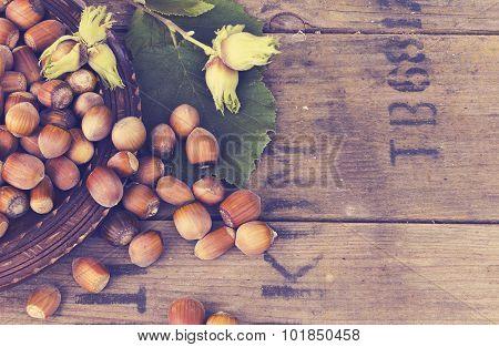 Hazelnut In Bowl On Wooden Background