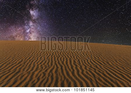Amazing Views Of The Gobi Desert Under The Night  Starry Sky.