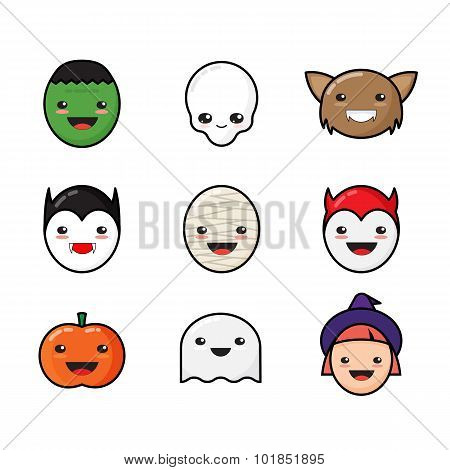 Cute Kawaii Halloween Icons Set. Funny Monster Faces.