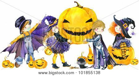 Halloween holiday banner,  little girl witch, skeleton boy, black cat, vampire boy,  and Halloween p