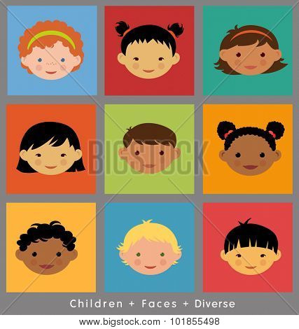 set of cute children's faces. flat style. different ethnic groups.
