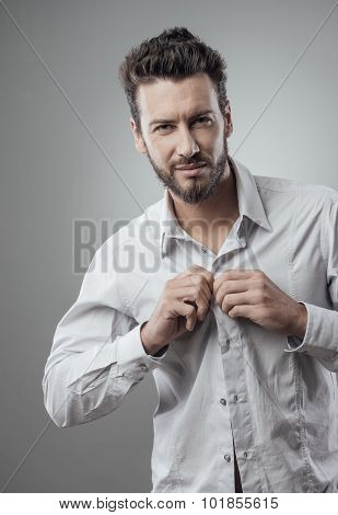 Attractive Man Getting Ready To Go Out