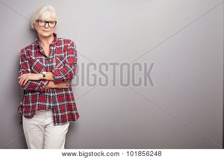Senior Woman In Casual Clothes.