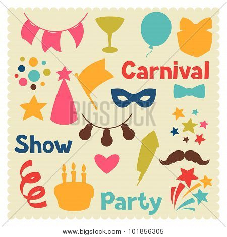 Carnival show and party set of celebration objects
