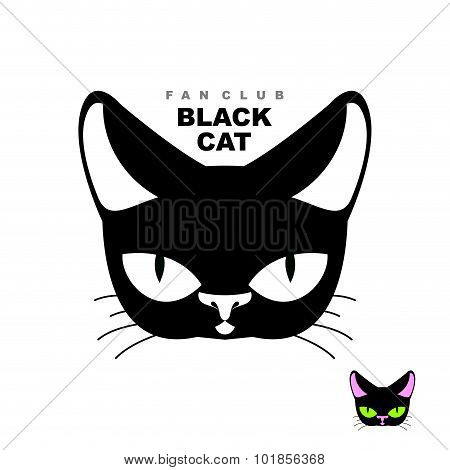 Black Cat Fan Club. Logo For Cat Lovers Or Cat Store. Vector Emblem Of  Pets Head.