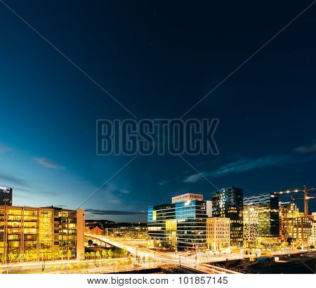 Night view of street in the city centers in Oslo, Norway. Summer
