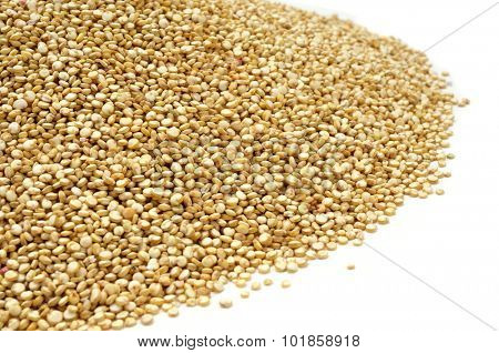 closeup of a pile of quinoa seeds on a white background