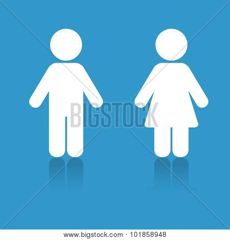 White man and woman icons on blue background with shadows. Illustration for print and web, toilet sign a