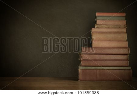 Book Stack On Desk With Chalkboard Background - Vintage Style