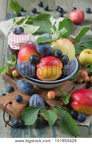 Harvest Of Different Fruits And Berries