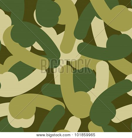 Military Texture From Penis. Army Seamless Pattern Of Sexual Organ. Protective Camouflage For Soldie