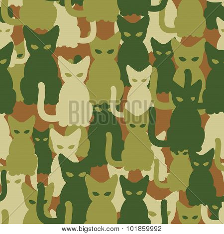Military Texture Of Cats. Army Seamless Pattern From Pets. Protective Camouflage For Soldiers Of Ani