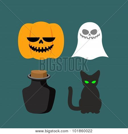 Set Of Icons For Halloween. Symbol Dreaded Holiday: Ghost And Black Cat, Poison And Pumpkin. Vector