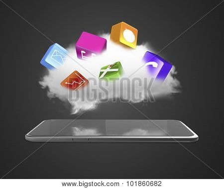Cloud With App Blocks Floating Above Smart Tablet