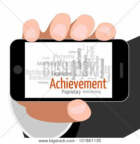Achievement Word Means Succeed Winner And Wordclouds