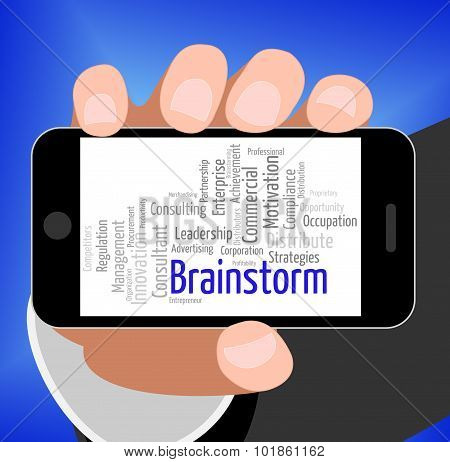 Brainstorm Word Shows Put Heads Together And Brainstorms