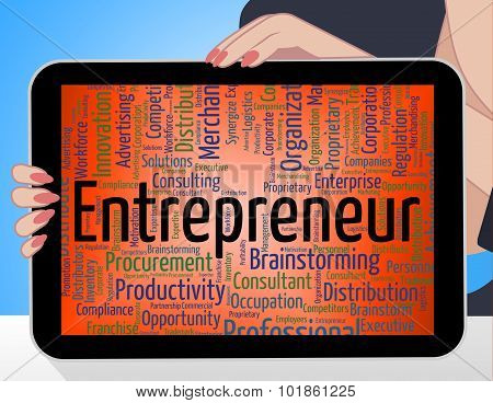 Entrepreneur Word Means Business Text And Tycoon