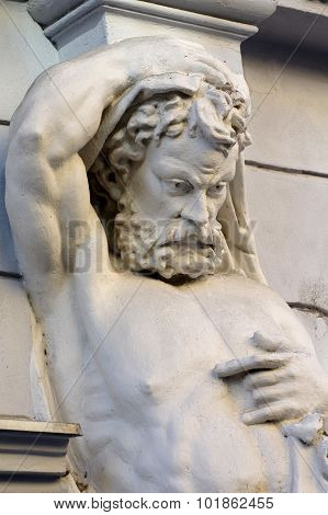 caryatid man body muscles architecture historic detail