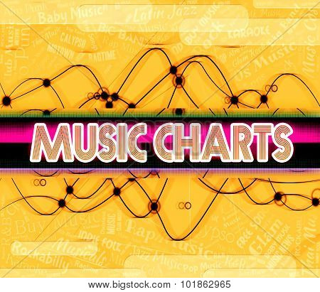 Music Charts Indicates Top Ten And Best
