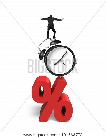 Businessman Balancing On Alarm Clock And Red Percentage Sign