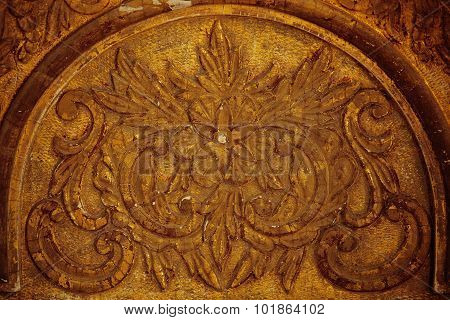 Ancient Relief Pattern Of Gilded Wood