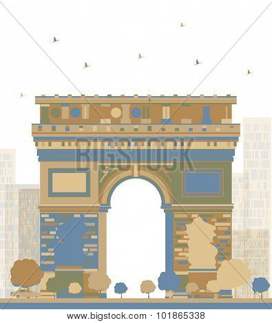 Color Arch of Triumph, Paris, France. Vector illustration