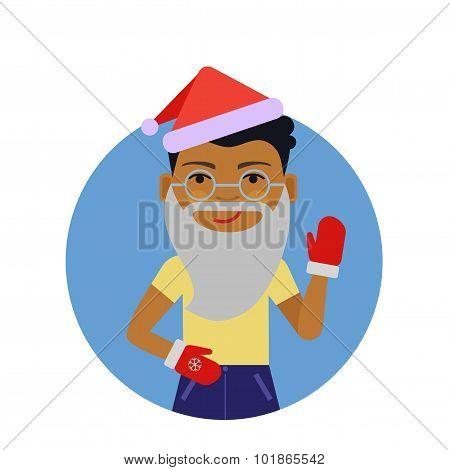African American boy wearing Santa hat