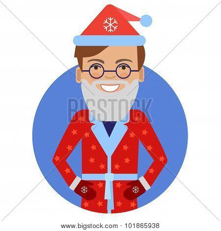 Smiling man in Santa costume