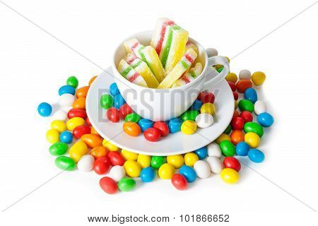 Colorful Candies And Marmalade Isolated On White. Selective Focus