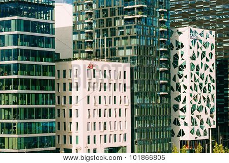 View of modern architecture in the center of Oslo, Norway.