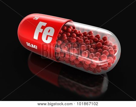 Vitamin capsule Fe (clipping path included).