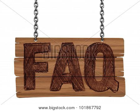 Wooden Blackboard with FAQ  (clipping path included)